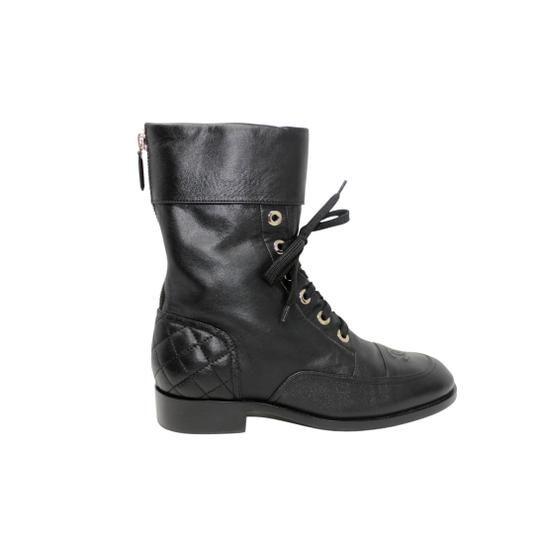 Chanel Lambskin Lace Combat Quilted Black Boots Image 4