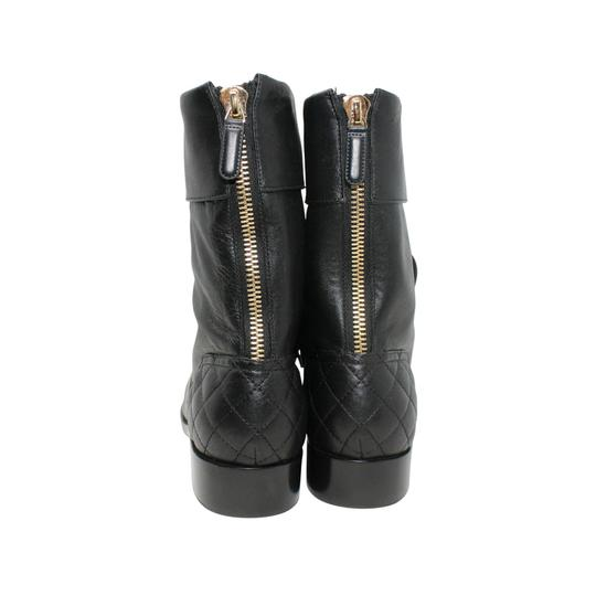 Chanel Lambskin Lace Combat Quilted Black Boots Image 5
