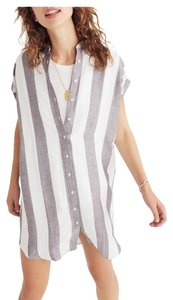Madewell short dress Gray & White Striped Button Down Point Collar on Tradesy