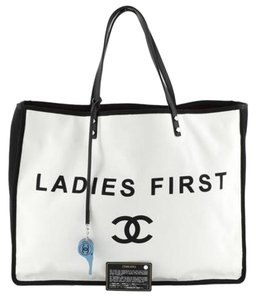 Chanel Ladies First Lets Demonstrate Let's Demonstrate Women's Movement Tote in white,black