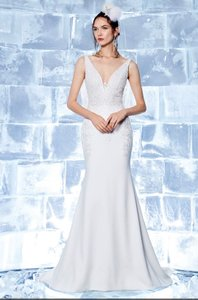 Ines Di Santo Off-white Holly Embroidered Trumpet Gown Formal Wedding Dress Size 12 (L)
