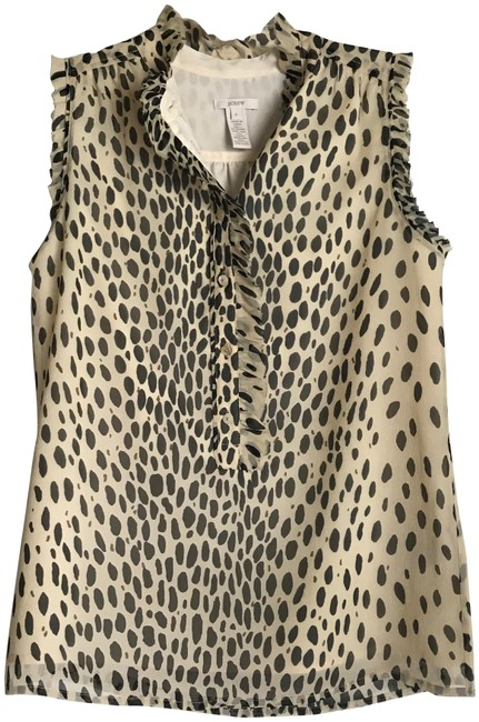 Item - Tan/Black W Leopard Lined Button Front W/Ruffle Collar Blouse Size 0 (XS)