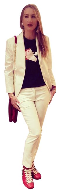 Item - White Super Cool Fitted Pant Suit Size 4 (S)