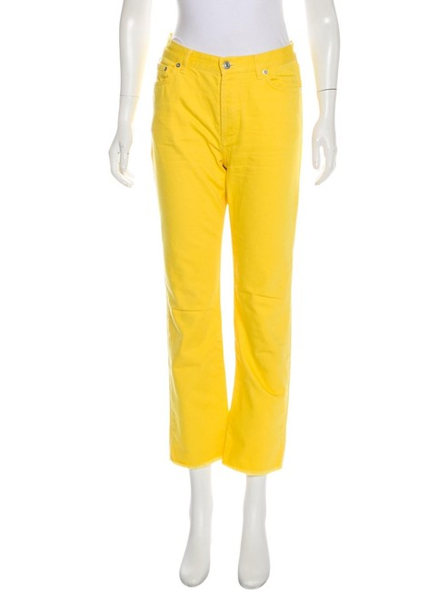 Item - Yellow Medium Wash 40 Raw Straight Leg Jeans Size 32 (8, M)