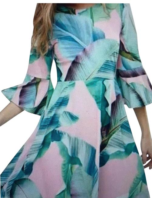 Item - Pink and Green Palm Print Short Night Out Dress Size 4 (S)