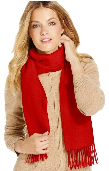 Item - Cherry Red Women Solid Woven Cashmere Muffler Scarf/Wrap