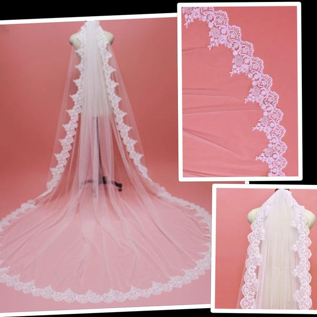 Unbranded Long White/Ivory 3 M/10 Ft Bling Sequins Lace Edge with Comb 1t Single Tier Bridal Veil Unbranded Long White/Ivory 3 M/10 Ft Bling Sequins Lace Edge with Comb 1t Single Tier Bridal Veil Image 1