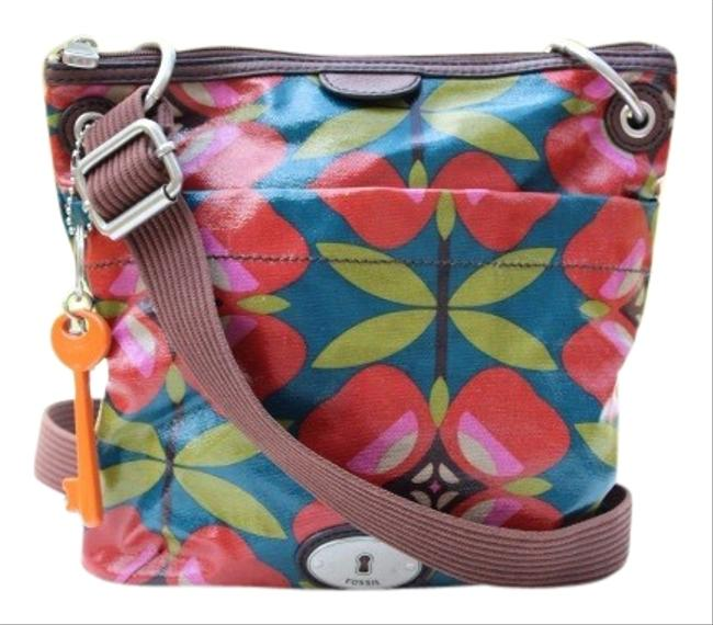 Item - Key-per Brown Red Teal Coated Canvas & Leather Clutch