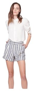 Veronica Beard Stripe Cream Dress Shorts Ecru/Indigo