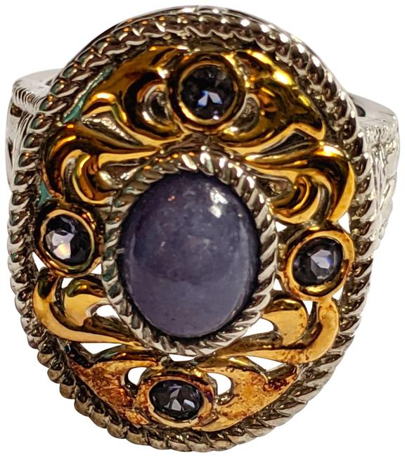 Item - Purple Silver. Gold New Sterling Tone Amethyst Gemstone Size 7.5 Qvc Ring