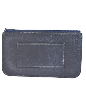 Hermès HERMES Dogon Pouch Wallet Coin Purse Togo Leather Navy Blue