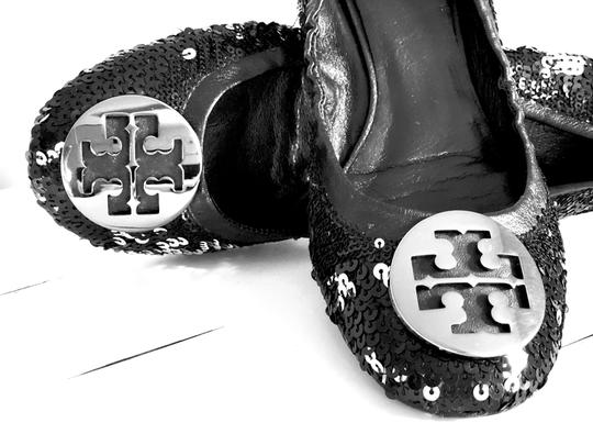 Tory Burch Black & Silver Wedges Image 1