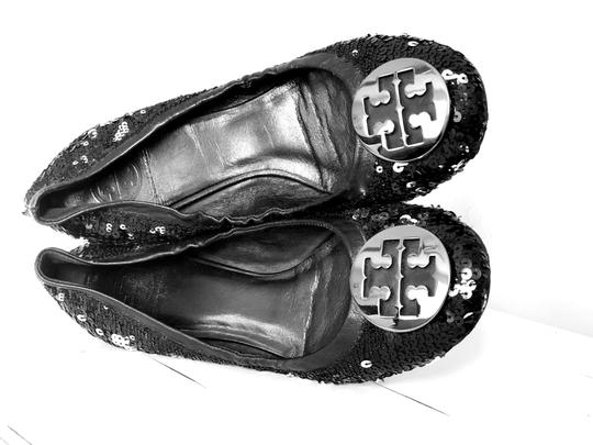 Tory Burch Black & Silver Wedges Image 4