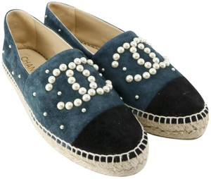 Chanel Pearl Suede Espadrille Teal Flats