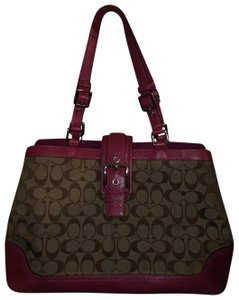 Coach Tote in Pink Leather on Signature Brown Canvas