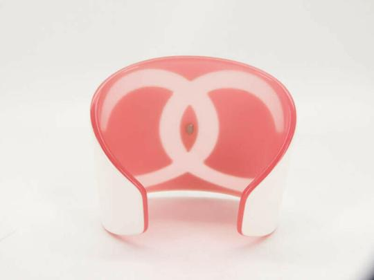 Chanel White Pink 01p CC Logo Cuff Bangle Bracelet 871367 Image 2