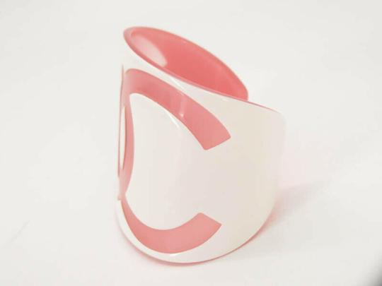 Chanel White Pink 01p CC Logo Cuff Bangle Bracelet 871367 Image 4
