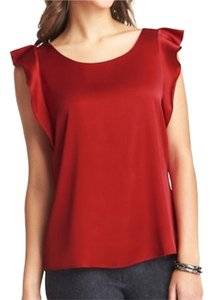 Ann Taylor LOFT Flutter Sleeve Career Professional Shell Back Zipper Short Sleeves Suit Silky Top Red