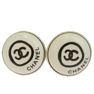 Chanel CHANEL CC Button Earrings Clip-On Silver Plated