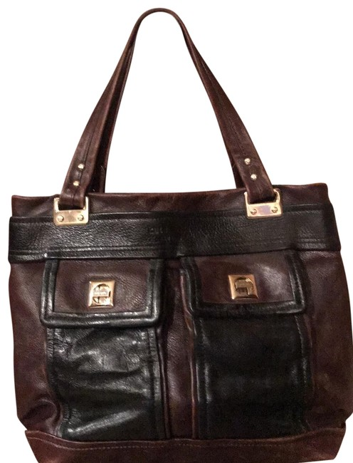 Item - Front Interior Pockets Black and Reddish Brown Leather with Gold Trim Tote