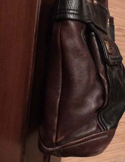 Kate Spade Tote in black and reddish brown leather with gold trim Image 2