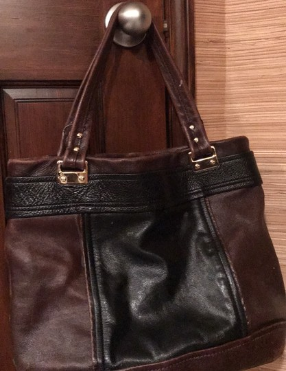 Kate Spade Tote in black and reddish brown leather with gold trim Image 3