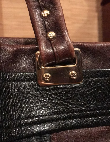 Kate Spade Tote in black and reddish brown leather with gold trim Image 4