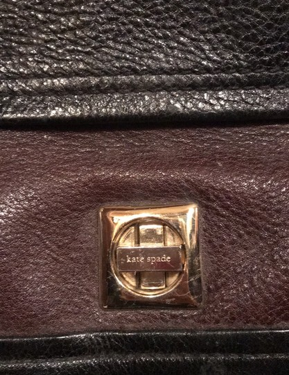 Kate Spade Tote in black and reddish brown leather with gold trim Image 5