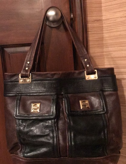 Kate Spade Tote in black and reddish brown leather with gold trim Image 9