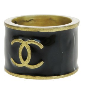 Chanel CHANEL CC Logo Heart Ring Gold-tone Black Size