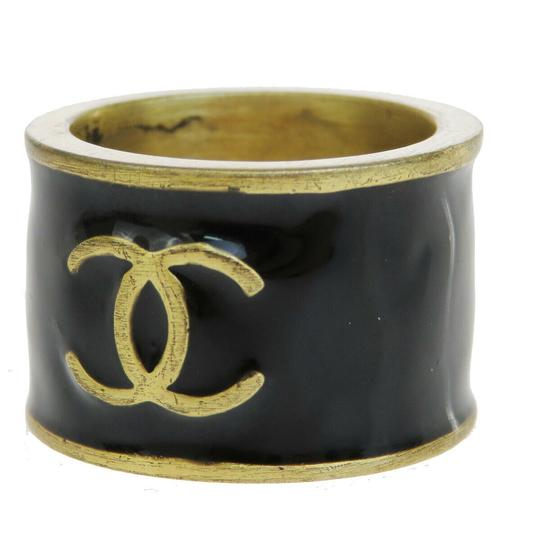 Chanel CHANEL CC Logo Heart Ring Gold-tone Black Size Image 0