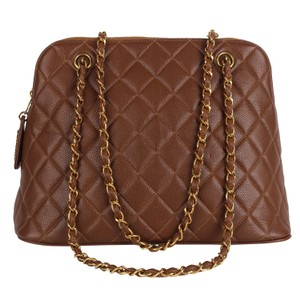 Chanel Quilted Gold Hardware Vintage Leather Tote in Brown