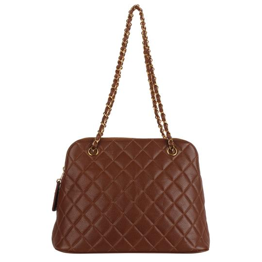 Chanel Quilted Gold Hardware Vintage Leather Tote in Brown Image 1
