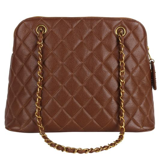 Chanel Quilted Gold Hardware Vintage Leather Tote in Brown Image 2