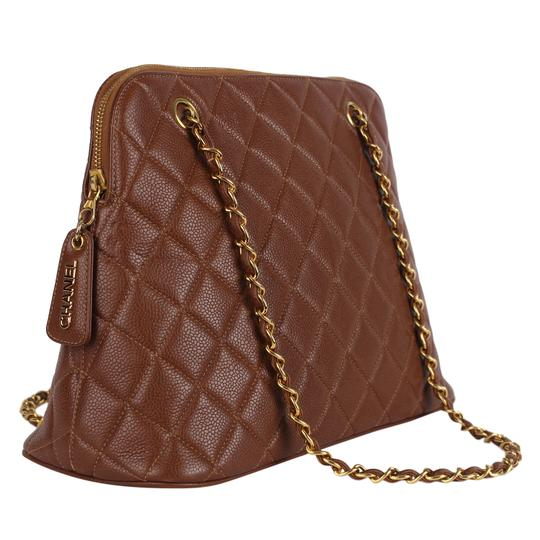 Chanel Quilted Gold Hardware Vintage Leather Tote in Brown Image 3
