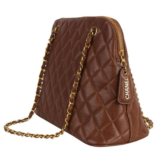 Chanel Quilted Gold Hardware Vintage Leather Tote in Brown Image 4
