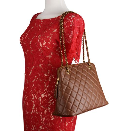 Chanel Quilted Gold Hardware Vintage Leather Tote in Brown Image 5