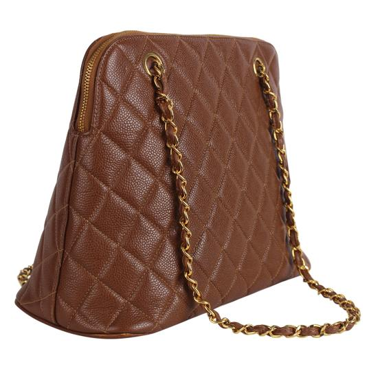 Chanel Quilted Gold Hardware Vintage Leather Tote in Brown Image 6