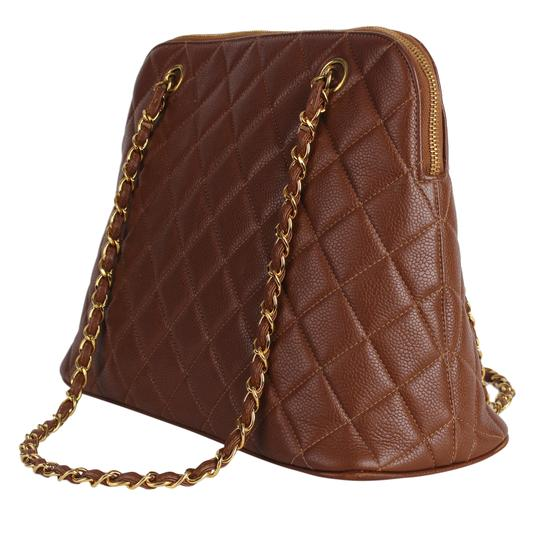 Chanel Quilted Gold Hardware Vintage Leather Tote in Brown Image 7