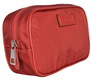 Gucci New Gucci 510341 Red Nylon GG Guccissima Small Toiletry Cosmetic Bag - item med img