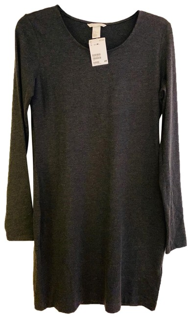 Item - Charcoal Basic Long-sleeve Dress/Tunic Mid-length Short Casual Dress Size 8 (M)