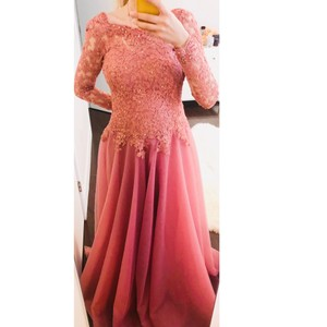 Pink Tulle Lace All Stones Swarovski Dream Modest Bridesmaid/Mob Dress Size OS (one size)