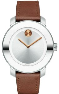 Movado Bold Leather Strap Silver Dial Midsize Womens 3600379