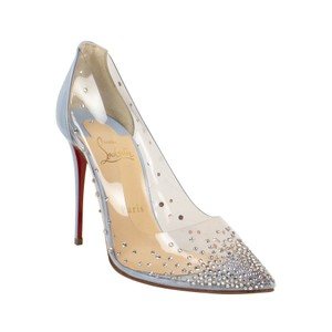 Christian Louboutin Pointed Toe Crystal Studded Leather Silver Blue Pumps