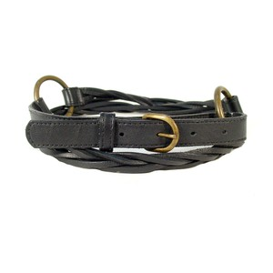 Eileen Fisher Black Earth Conscious Leather Loose Braid Belt L