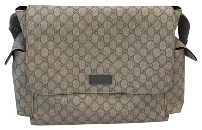 Item - Grey with Beige Leather Diaper Bag