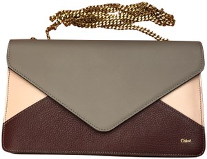 Chloé Wallet Colorblocking Chain Card Slot Gold Clutch