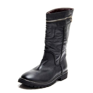 Chanel Chunky Contrast Quilted Monogram Leather Black Boots