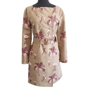 Prada Belted Fall Floral Print Trench Coat