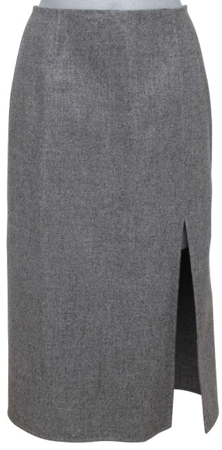 Item - Grey Wool Pencil Straight Slit Made In Italy Skirt Size 4 (S, 27)